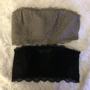 Grey and black Strapless bra let
